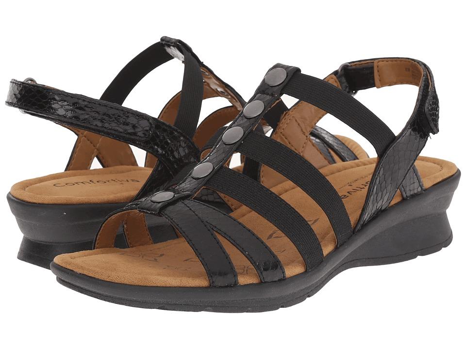 Comfortiva Kalista Black Snake Print Womens Sandals