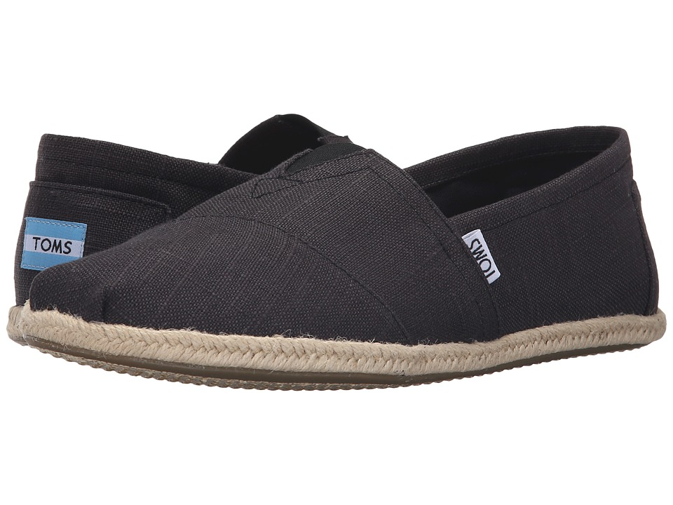 TOMS - Rope Sole Classics (Washed Black Linen Rope Sole) Mens Slip on  Shoes