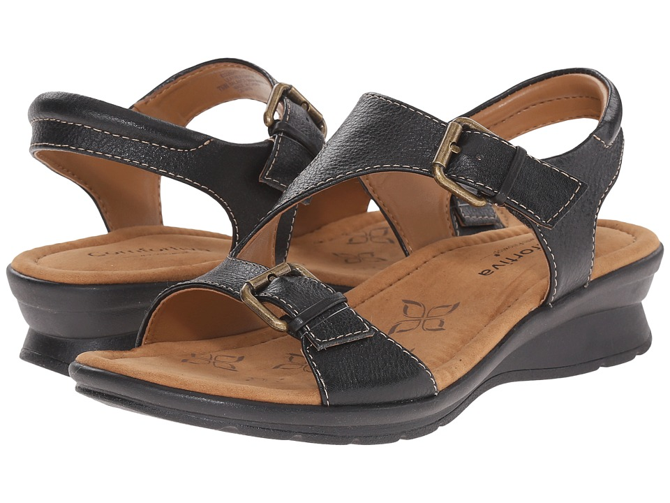 Comfortiva Kay Black Calf Ionic Womens Sandals