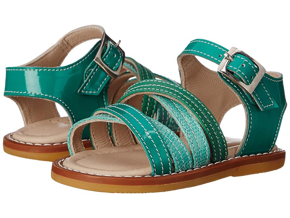 Elephantito Crossed Sandal Toddler PTN Green Girls Shoes