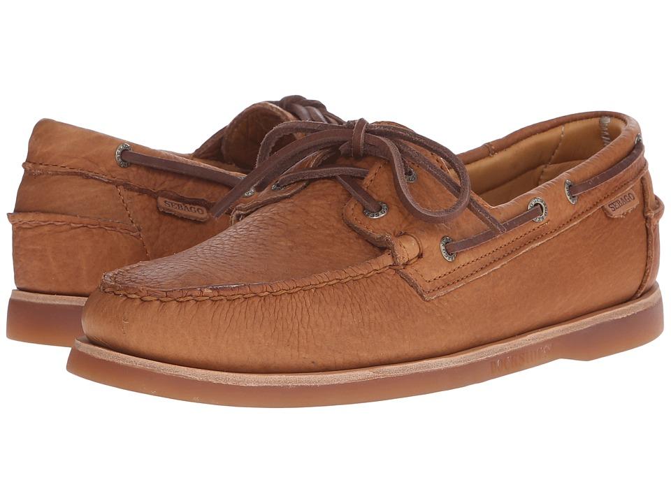 Sebago Crest Dockside Gold Tan Bison Leather Mens Shoes