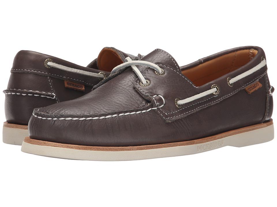 Sebago Crest Dockside Grey Leather Mens Shoes