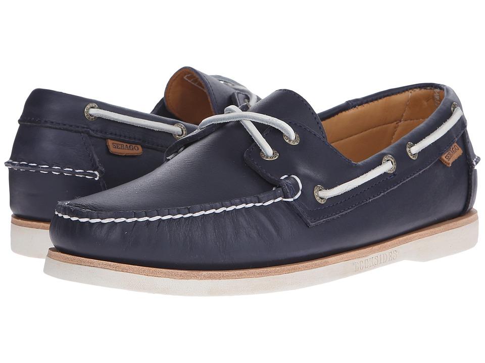 Sebago Crest Dockside Navy Leather Mens Shoes