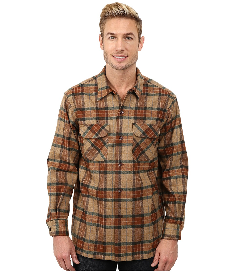 Pendleton - Board Shirt Ranger Brown Plaid Mens Clothing $125.00 AT vintagedancer.com