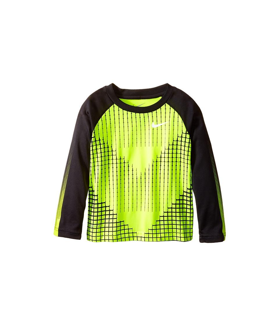 Nike Kids Chevron Squares Dri Fit Long Sleeve Raglan Shirt Toddler Volt Boys T Shirt