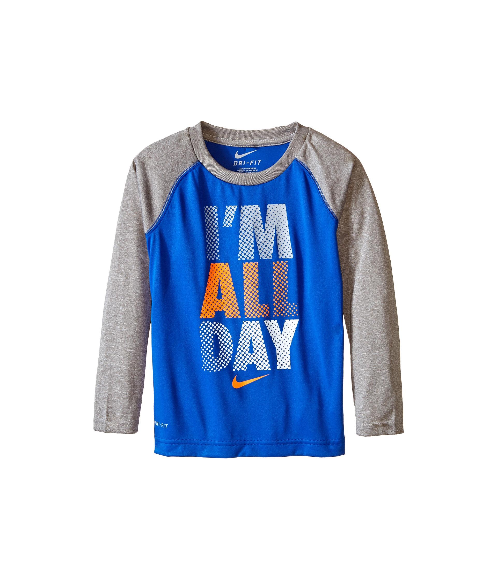 Nike Kids I M All Day Dri Fit Long Sleeve Raglan Shirt
