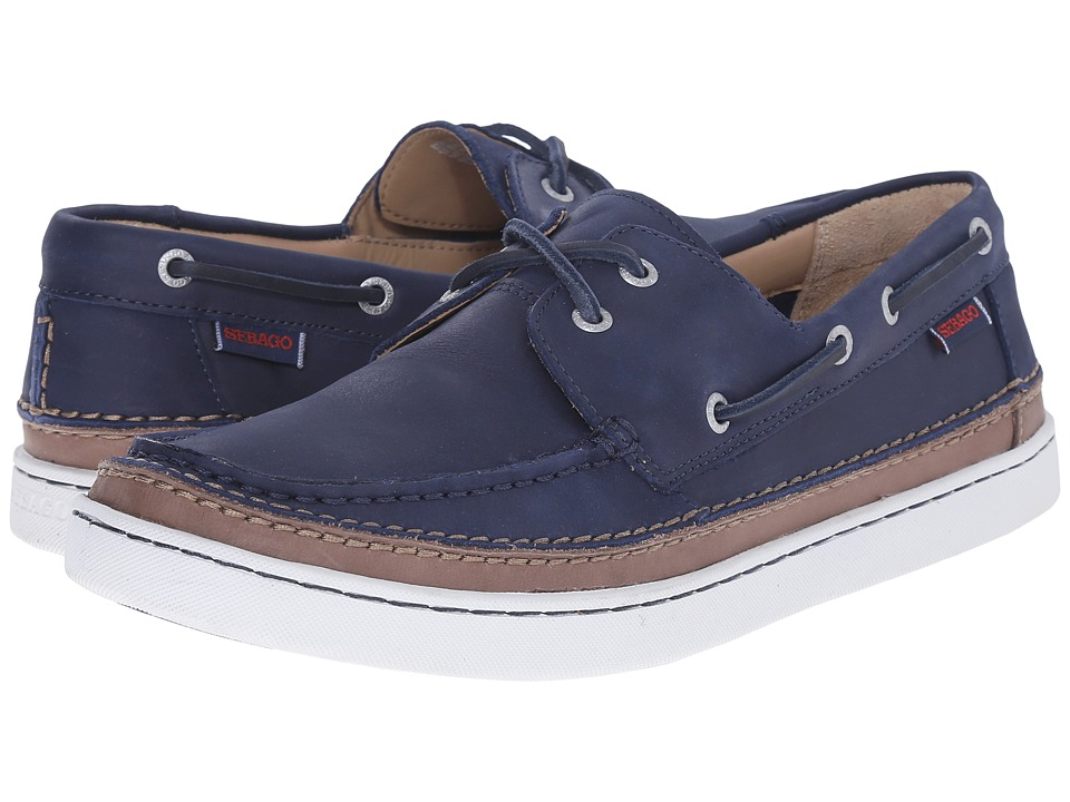 Sebago Ryde Two Eye Navy Leather Mens Shoes