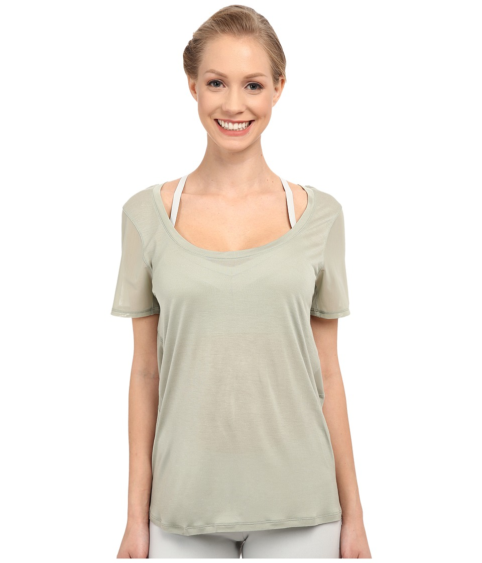 ALO Luxx Short Sleeve Top Sea Mist Womens Short Sleeve Pullover