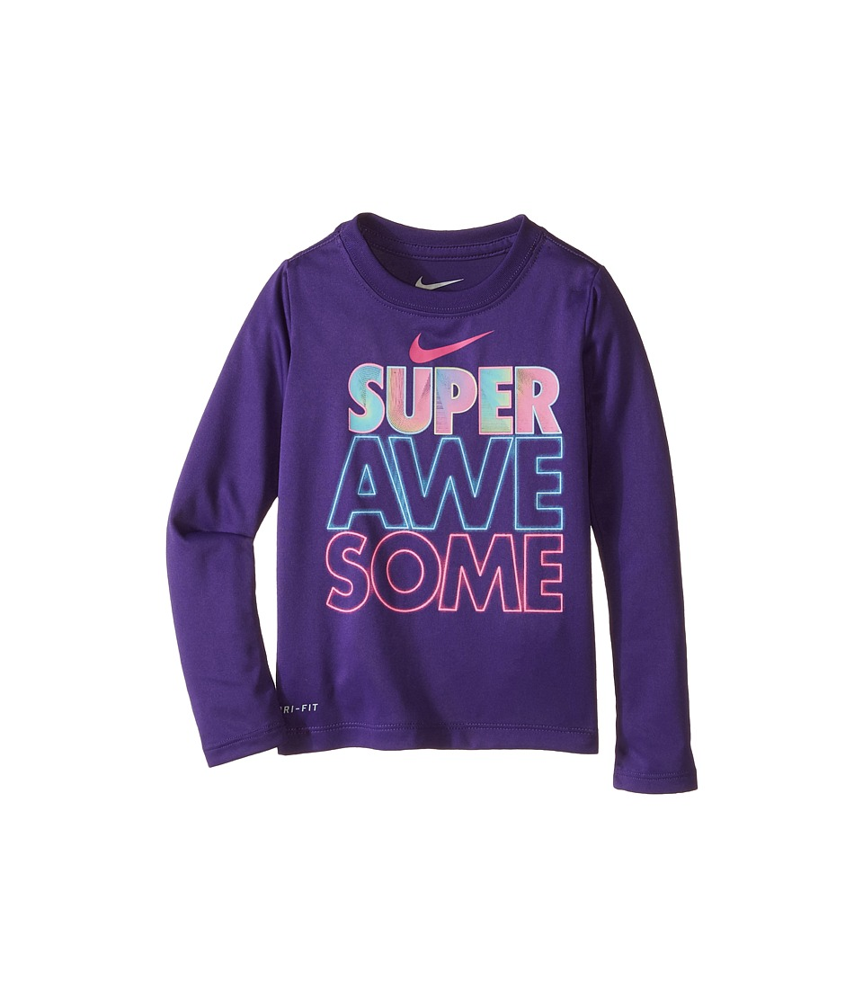 Nike Kids Super Awesome Long Sleeve Tee Toddler Court Purple Girls T Shirt