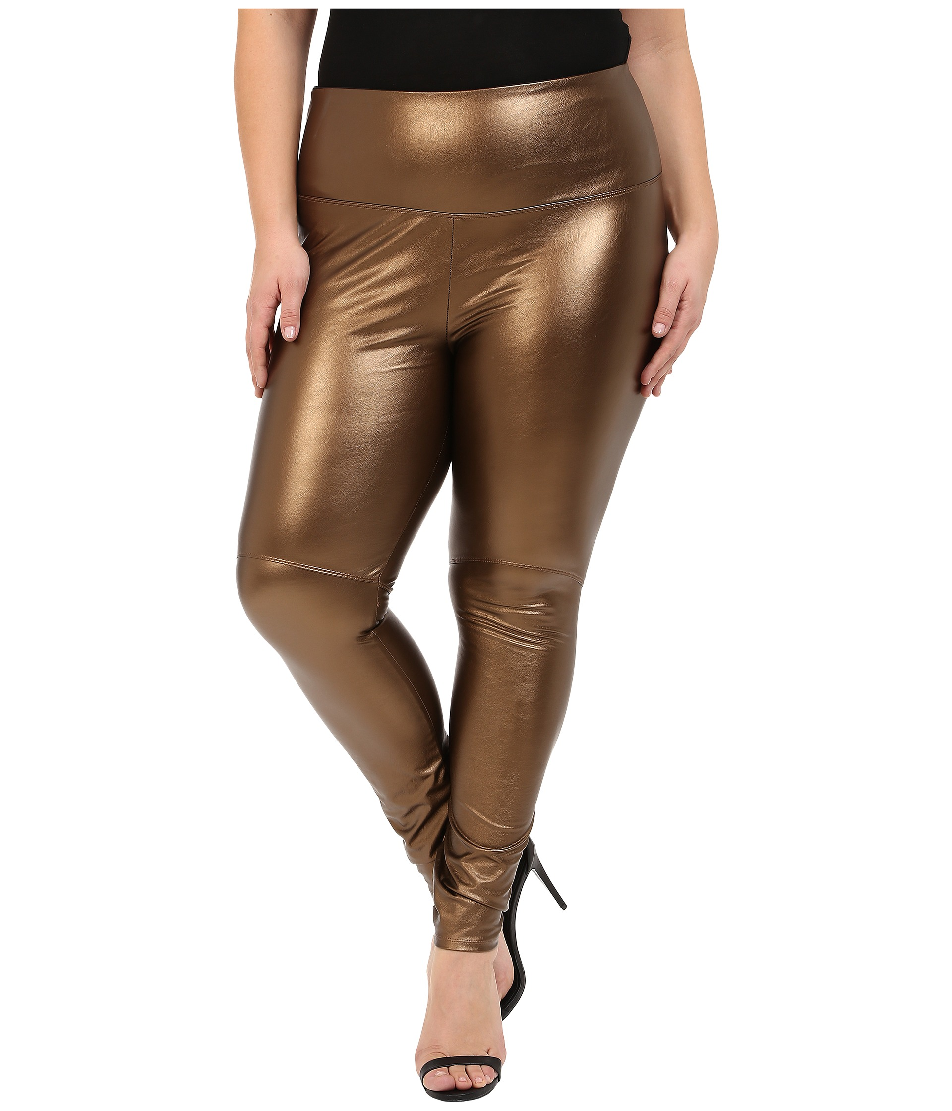 A stylish, edgy legging that will make you look and feel your best. Vegan faux leather legging boasts an element of stretch for comfort and flexibility. Banded waist lining .
