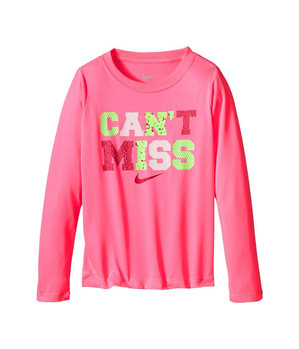 Nike Kids Cant Miss Long Sleeve Dri Fit Jersey Tee Little Kids Pink Pow Girls T Shirt