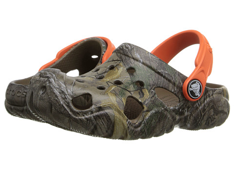 Crocs Kids Swiftwater Realtree Xtra Clog (Toddler/Little Kid) - Walnut/Tangerine