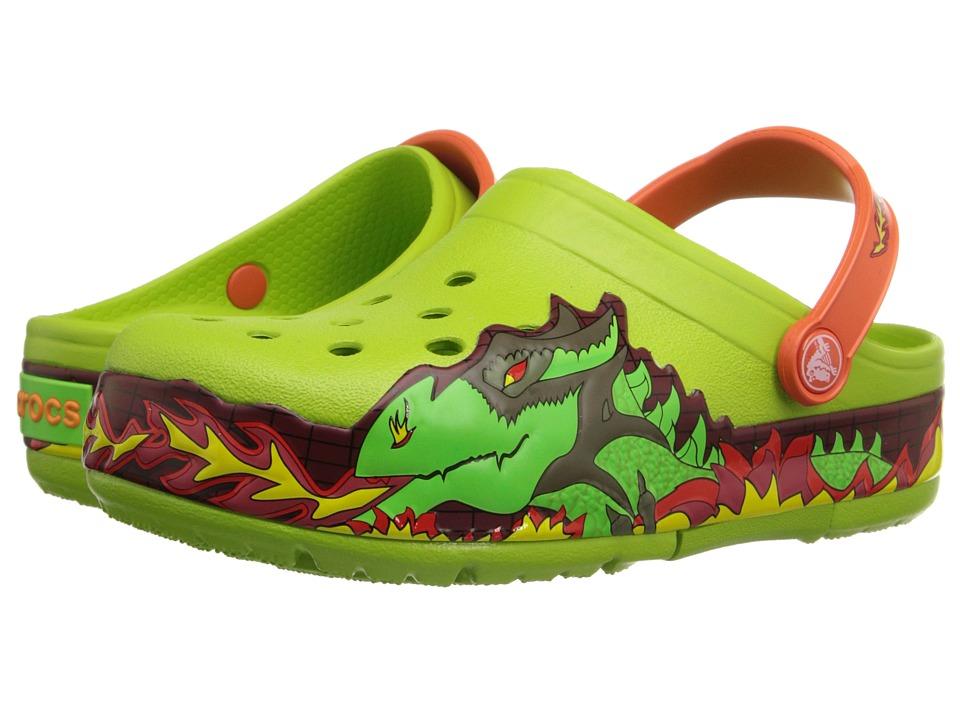 Crocs Kids CrocsLights Fire Dragon Clog Toddler/Little Kid Volt Green Boys Shoes