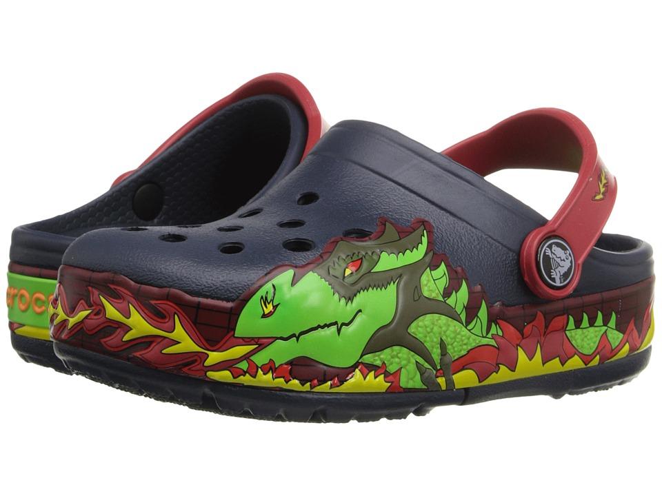 Crocs Kids CrocsLights Fire Dragon Clog Toddler/Little Kid Navy Boys Shoes