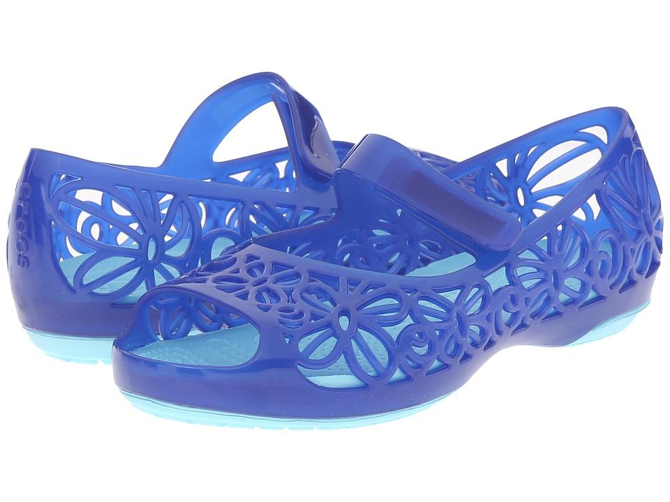 Crocs Kids Isabella Jelly Flat PS Toddler/Little Kid Carnation Blue/Ice Blue Girls Shoes
