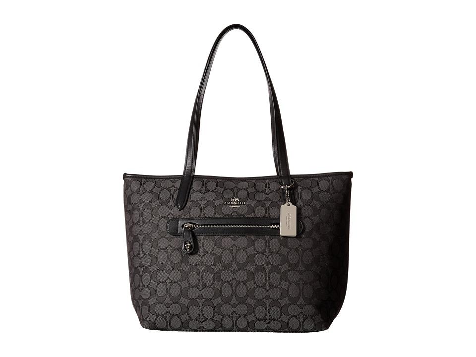 COACH - Signature Taylor Tote (SV/Black Smoke/Black) Tote Handbags