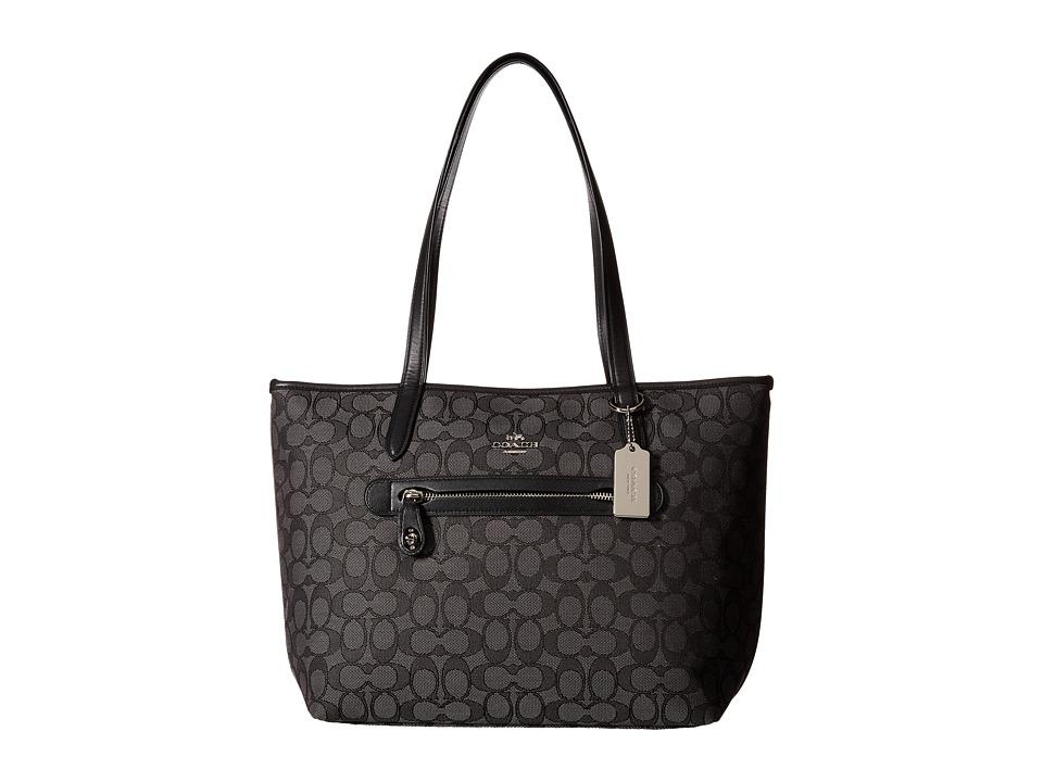 COACH - Signature Taylor Tote (SV/Black Smoke/Black) Tote Handbags