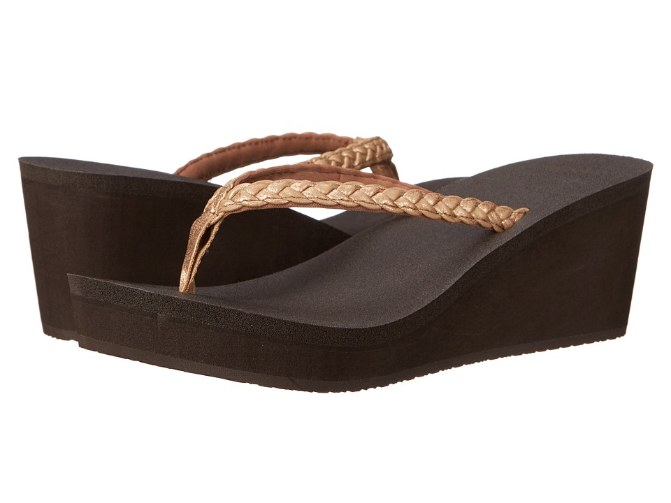 Sanuk Yoga Braided Wedge Metallic (Rose Gold) Women