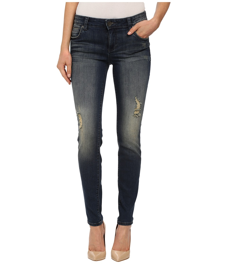 KUT from the Kloth Mia Toothpick Five Pocket Skinny Jeans in Laugh/Dark Stone Base Wash Laugh/Dark Stone Base Wash Womens Jeans