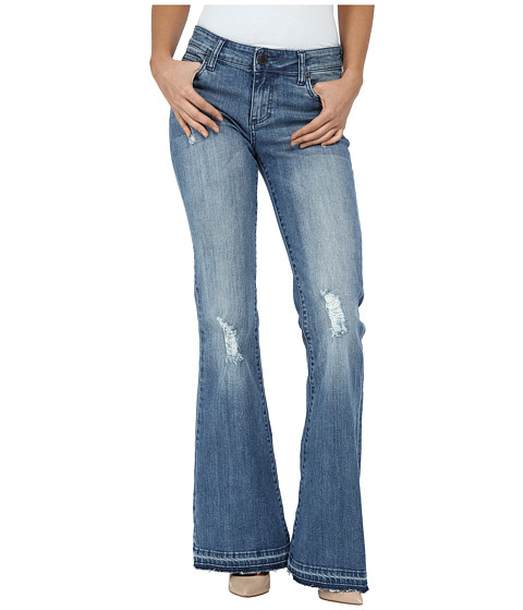 KUT from the Kloth Elena Super Flare Jeans w/ Released Hem in Organize