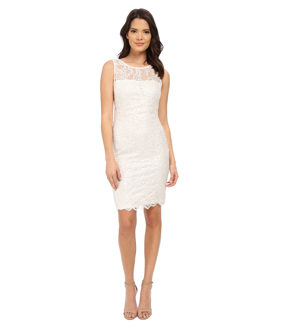 Calvin Klein Lace Sheath Dress CD5B4M6C Ivory Womens Dress