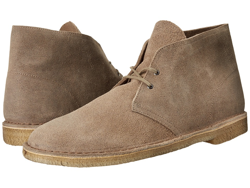 1960s Style Men's Clothing, 70s Men's Fashion Clarks - Desert Boot Taupe Distressed Suede Mens Lace-up Boots $130.00 AT vintagedancer.com