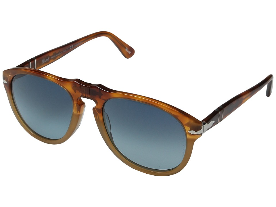 Persol 0PO0649 Tortoise Orange/Blue Gradient Polarized Fashion Sunglasses