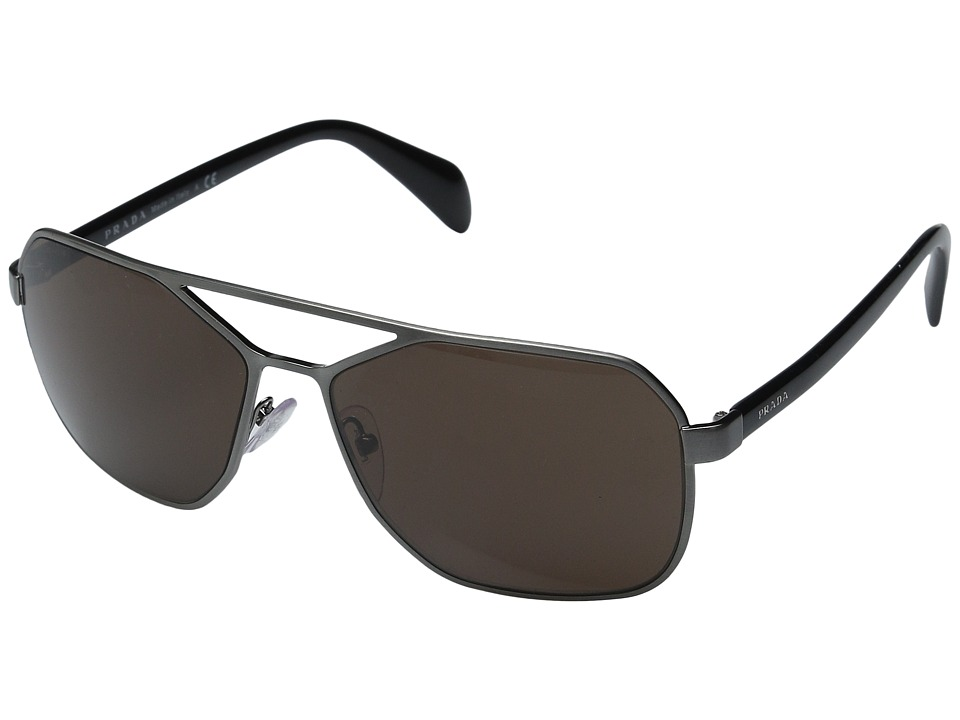 Prada 0PR 54RS Brushed Gunmetal/Brown Fashion Sunglasses