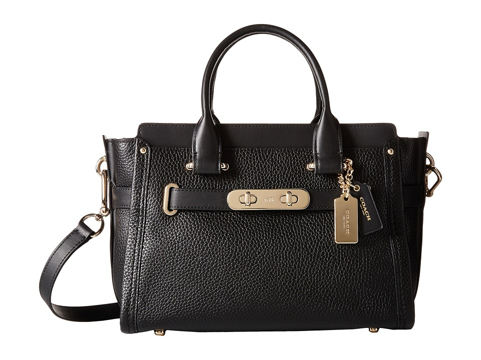 COACH - Pebbled Leather Coach Swagger 27 (LI/Black) Satchel Handbags