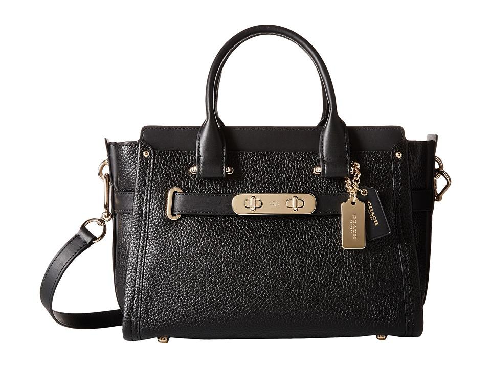 COACH - Pebbled Leather Coach Swagger 27 (LI/Black) Satchel Handbags