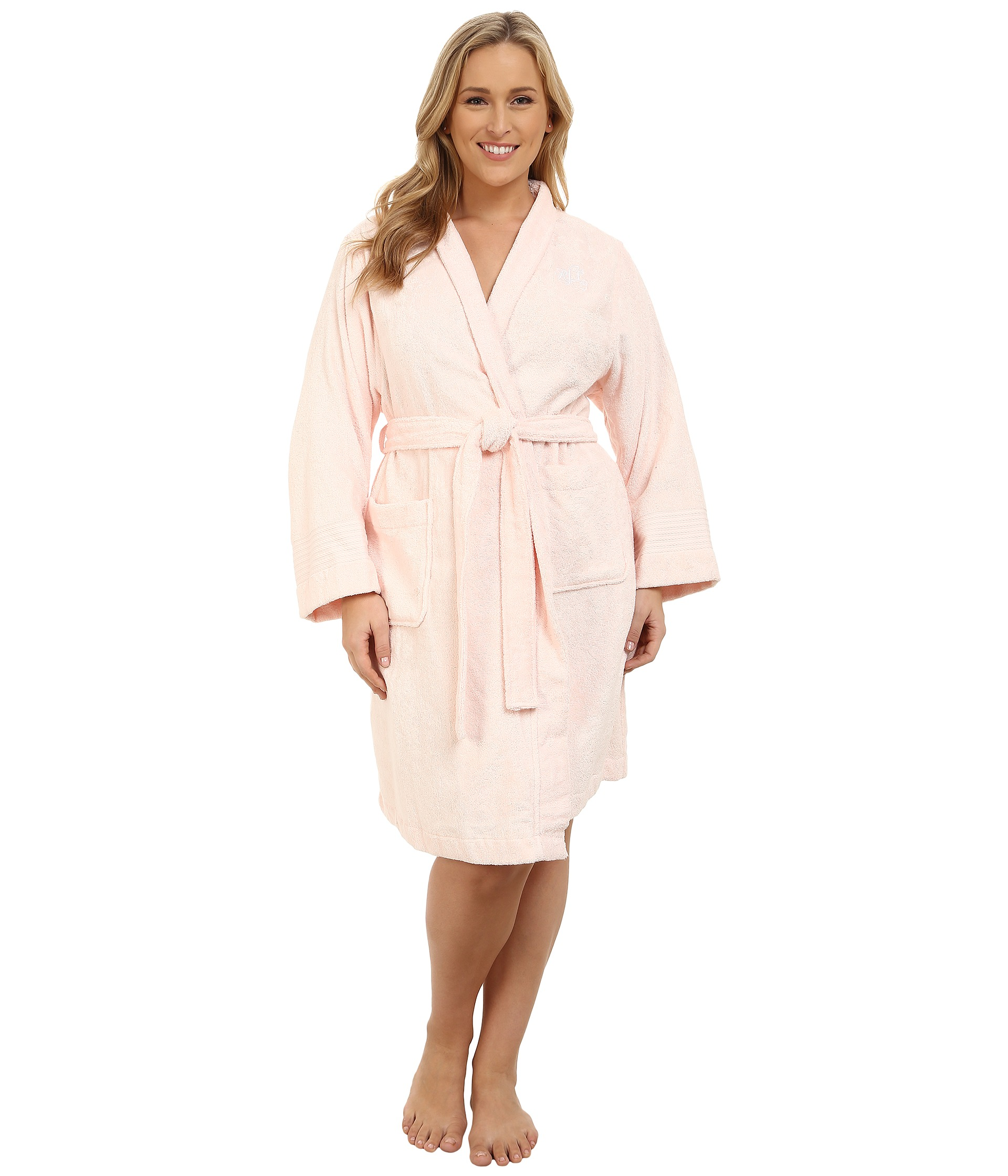 lauren ralph lauren plus size greenwich robe light pink free shipping both ways. Black Bedroom Furniture Sets. Home Design Ideas