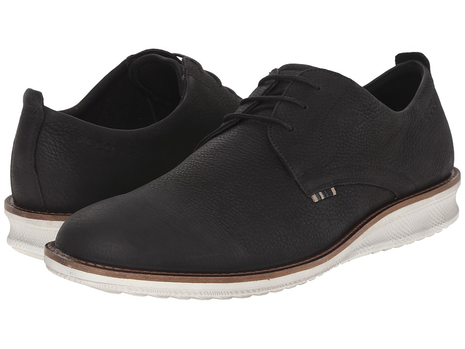 ECCO Contoured Plain Toe Tie (Black Cow Nubuck) Men