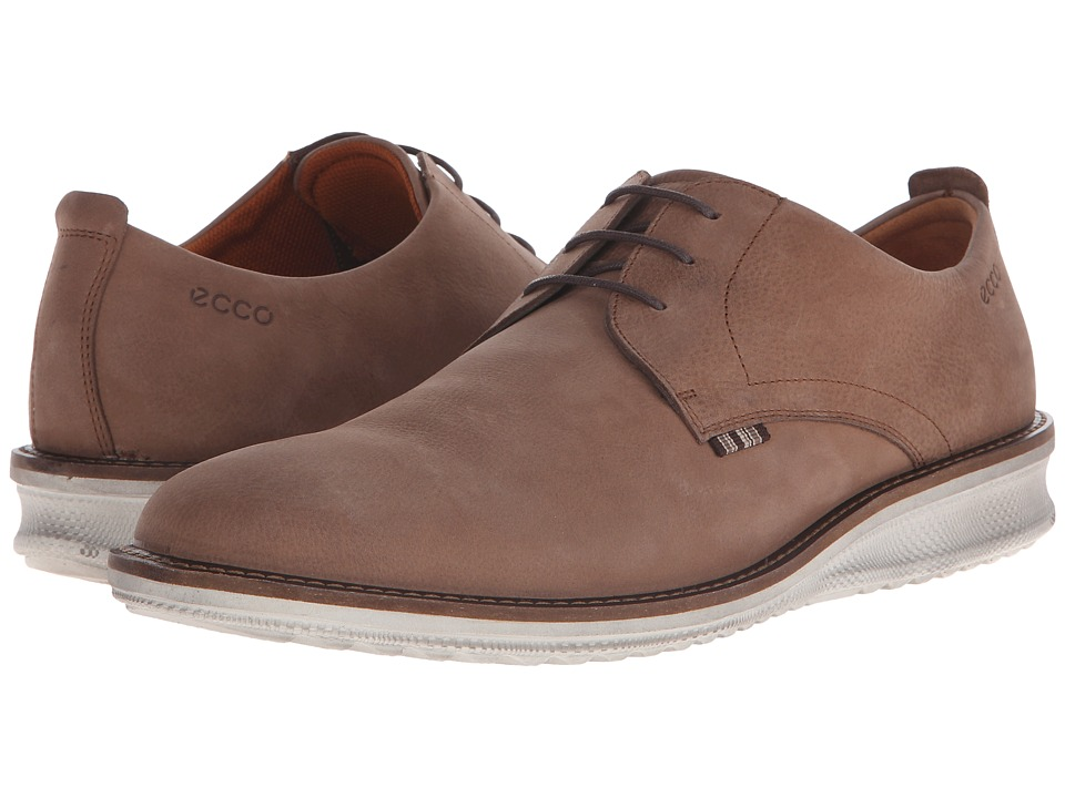 ECCO Contoured Plain Toe Tie Cocoa Brown Cow Nubuck Mens Plain Toe Shoes