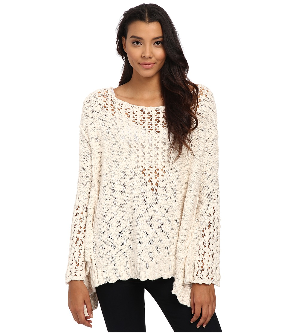 Free People Pretty Pointelle Vee Sweater Ivory Womens Sweater