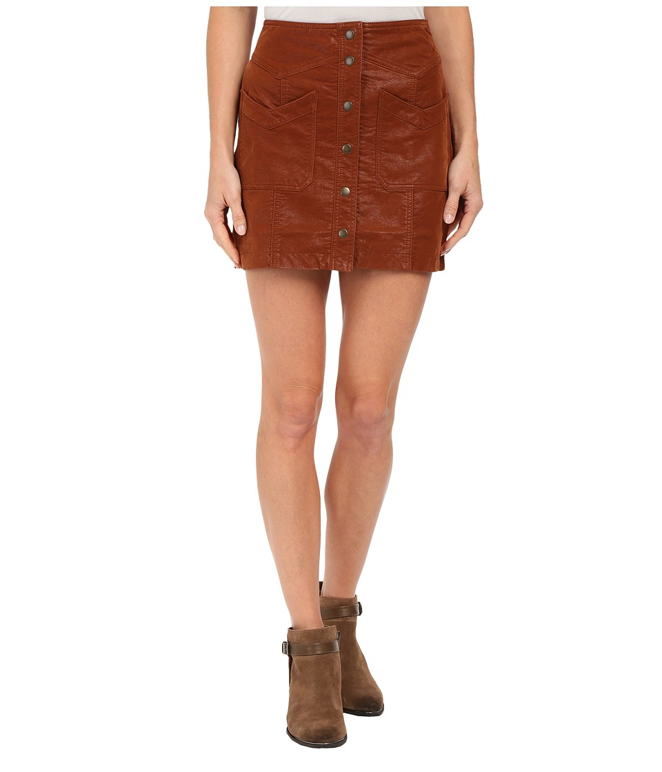 Free People Come A Little Closer Faux Leather Skirt Toffee Womens Skirt