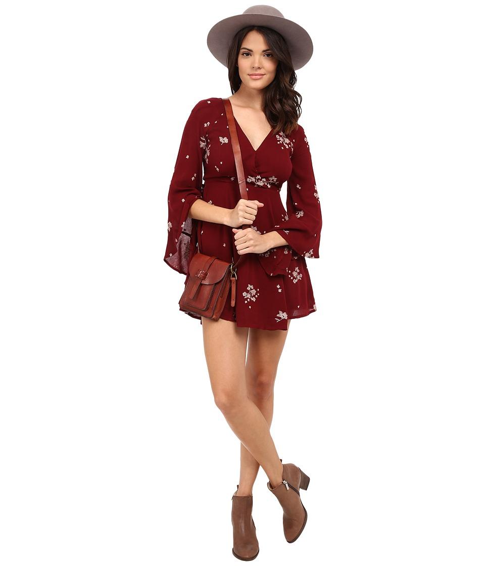 Free People Jasmine Embroidered Mini Dress Marsala Combo Womens Dress