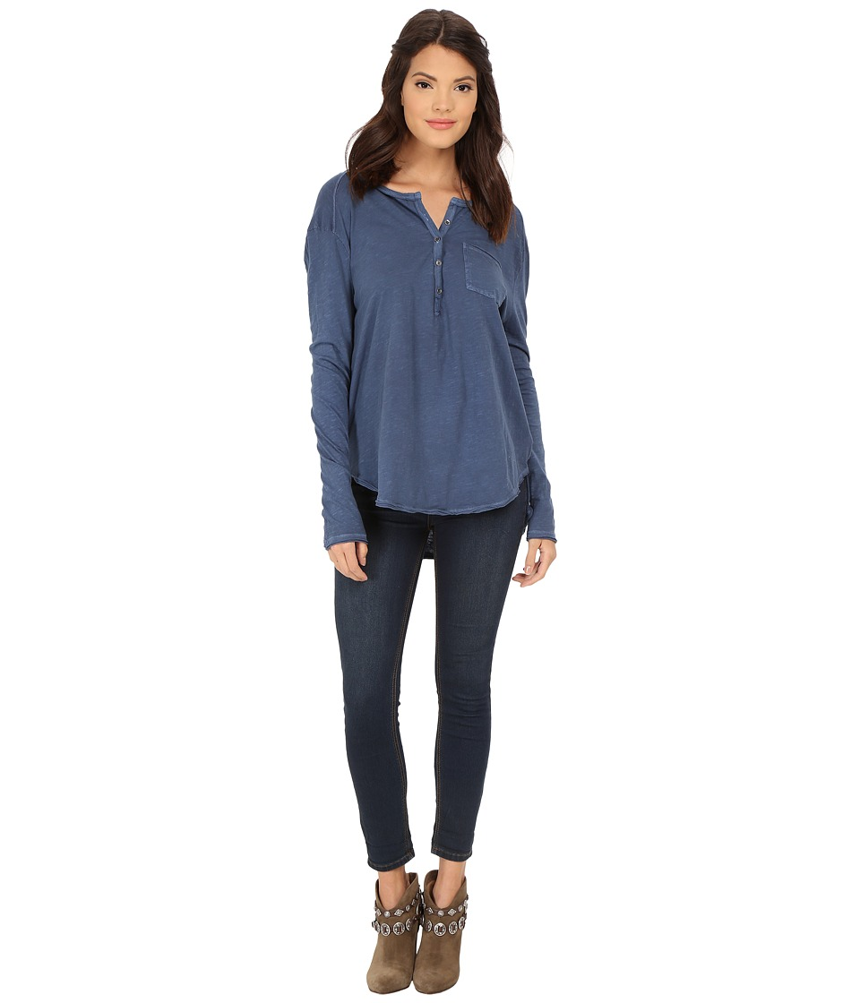 Free People Frontier Henley Indigo Womens Clothing