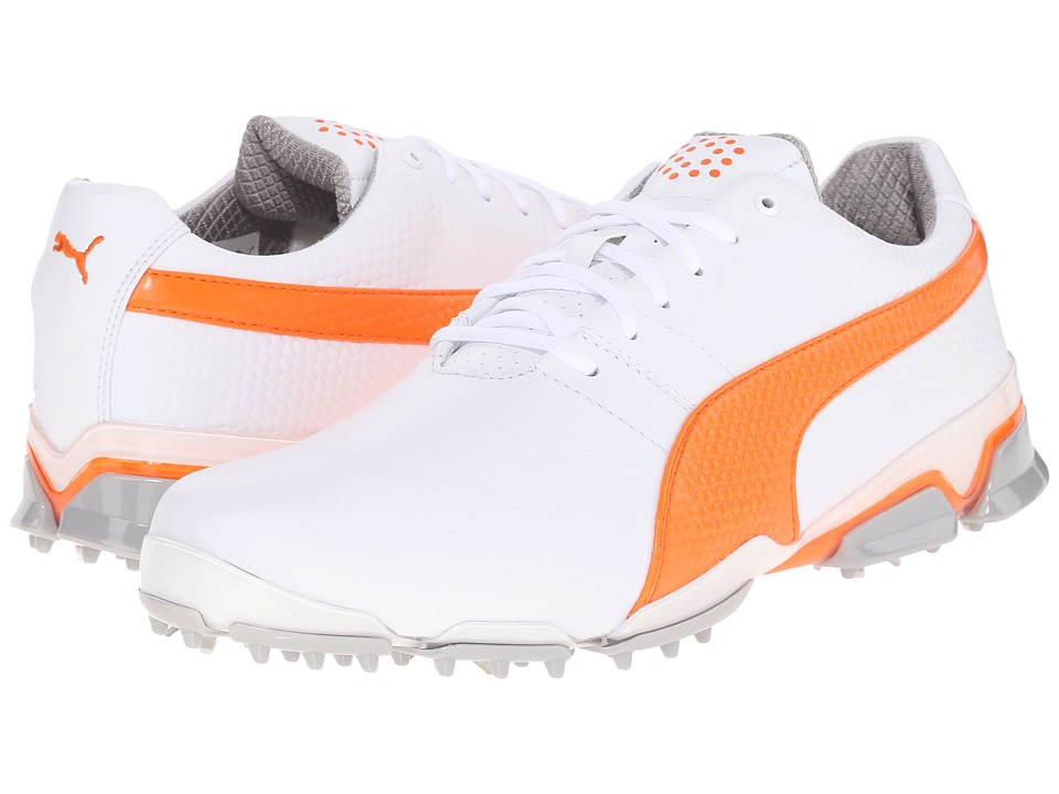 PUMA Golf - Titantour Ignite (White/Vibrant Orange/Drizzle) Men