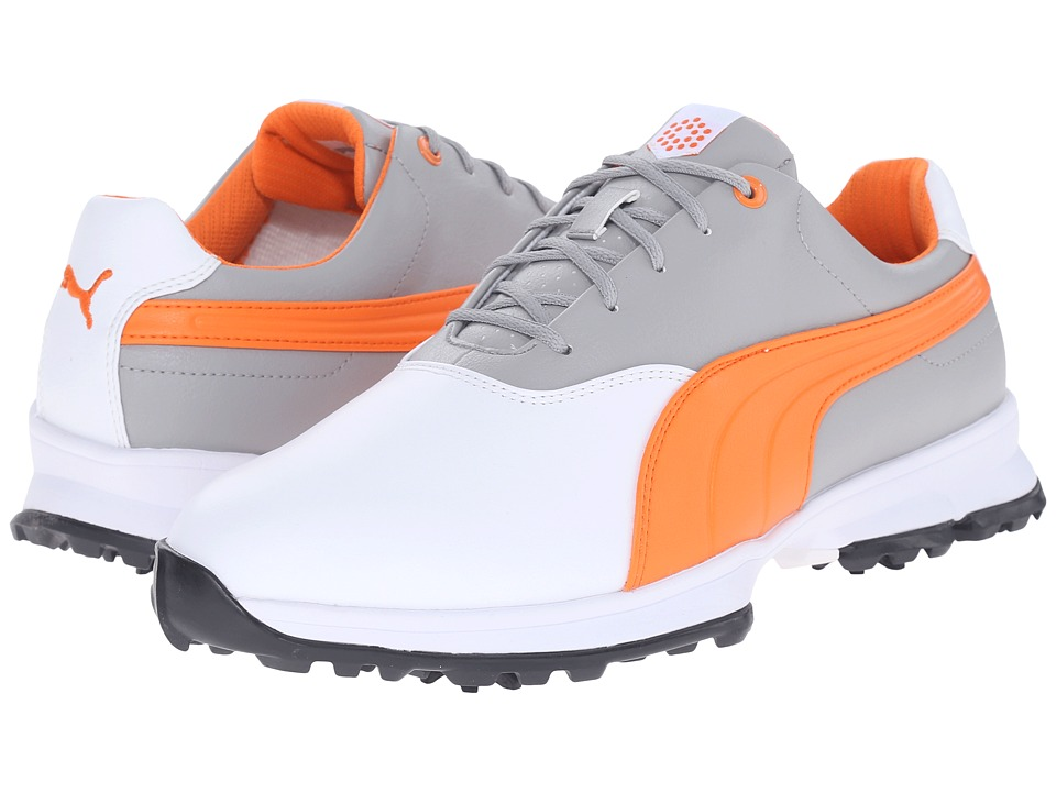 PUMA Golf Golf Ace (White/Vibrant Orange/Drizzle) Men