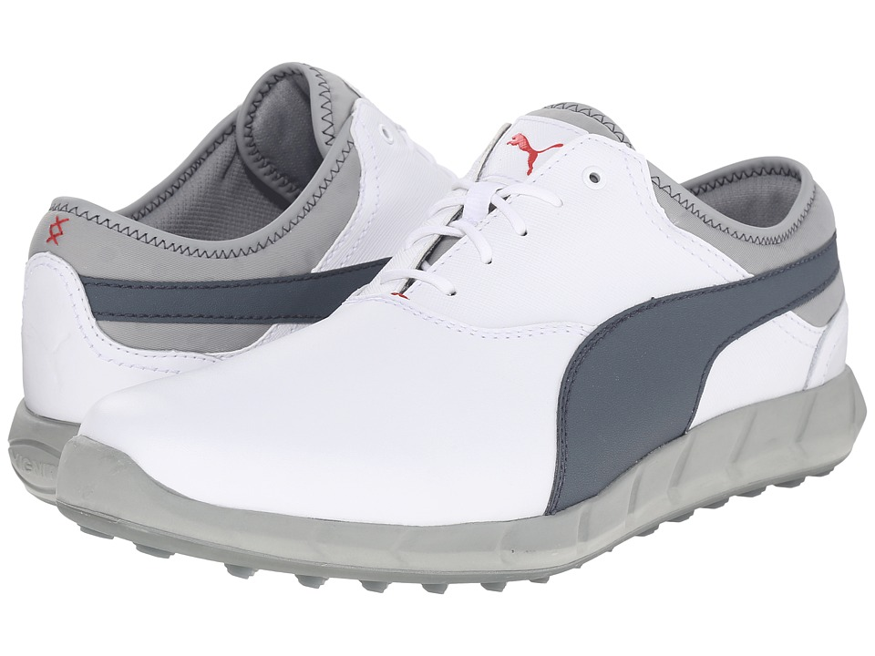 PUMA Golf Ignite Golf (White/Turbulence/High Risk Red) Men