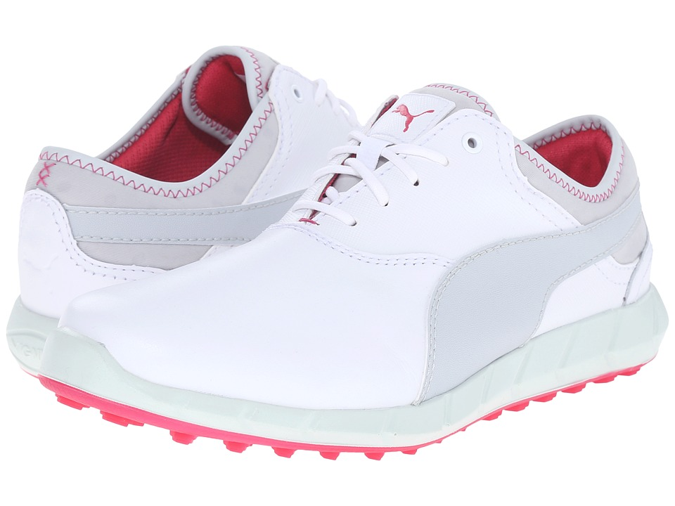 PUMA Golf - Ignite Golf (White/Glacier Gray/Rose Red) Womens Golf Shoes