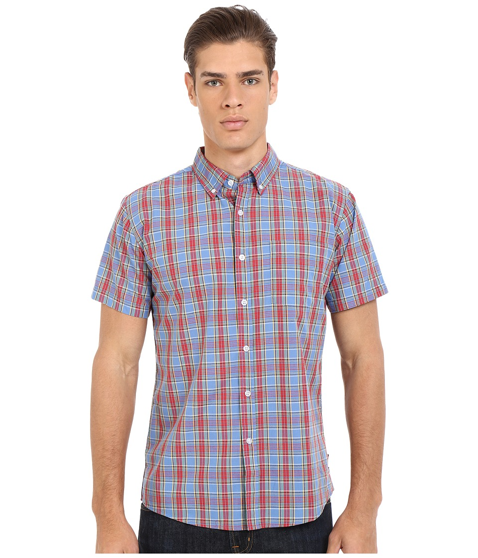 Brixton Arthur Short Sleeve Woven Red/Blue Mens Short Sleeve Button Up