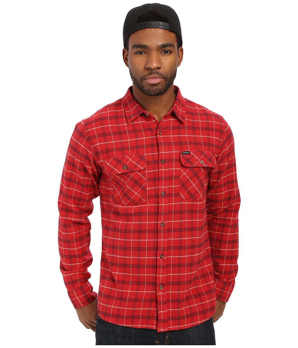 Brixton Bowery Long Sleeve Flannel Red/Black Combo Mens Long Sleeve Button Up