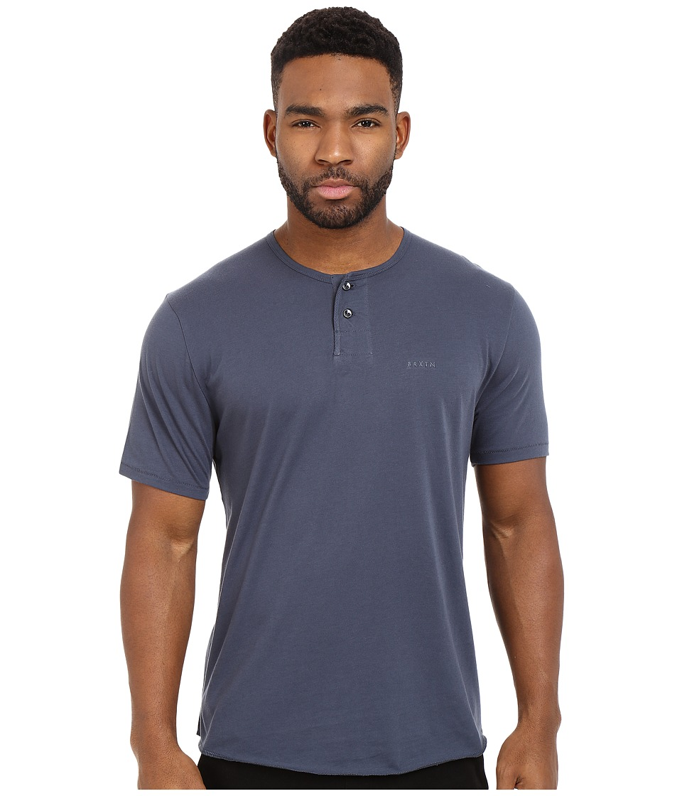 Brixton Berkeley Short Sleeve Henley Indigo Mens Short Sleeve Pullover