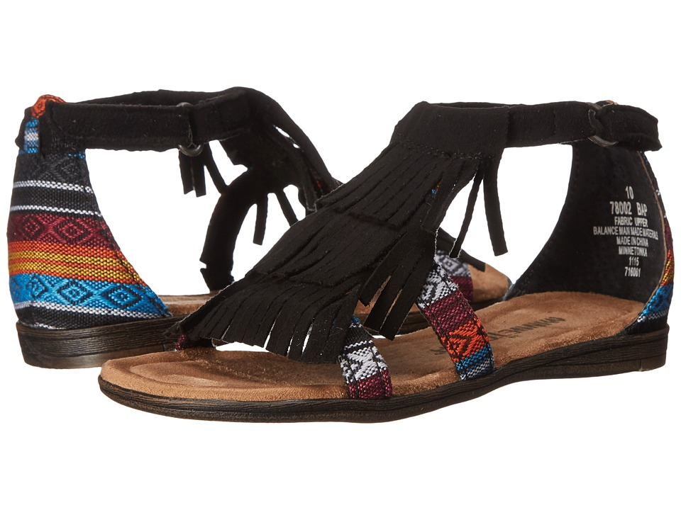 Minnetonka Kids Maya Little Kid/Big Kid Black/Arizona Girls Shoes