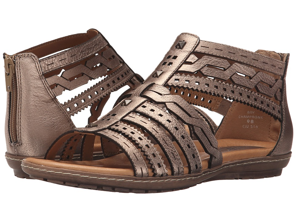 Earth Bay Champagne Metallic Leather Womens Sandals
