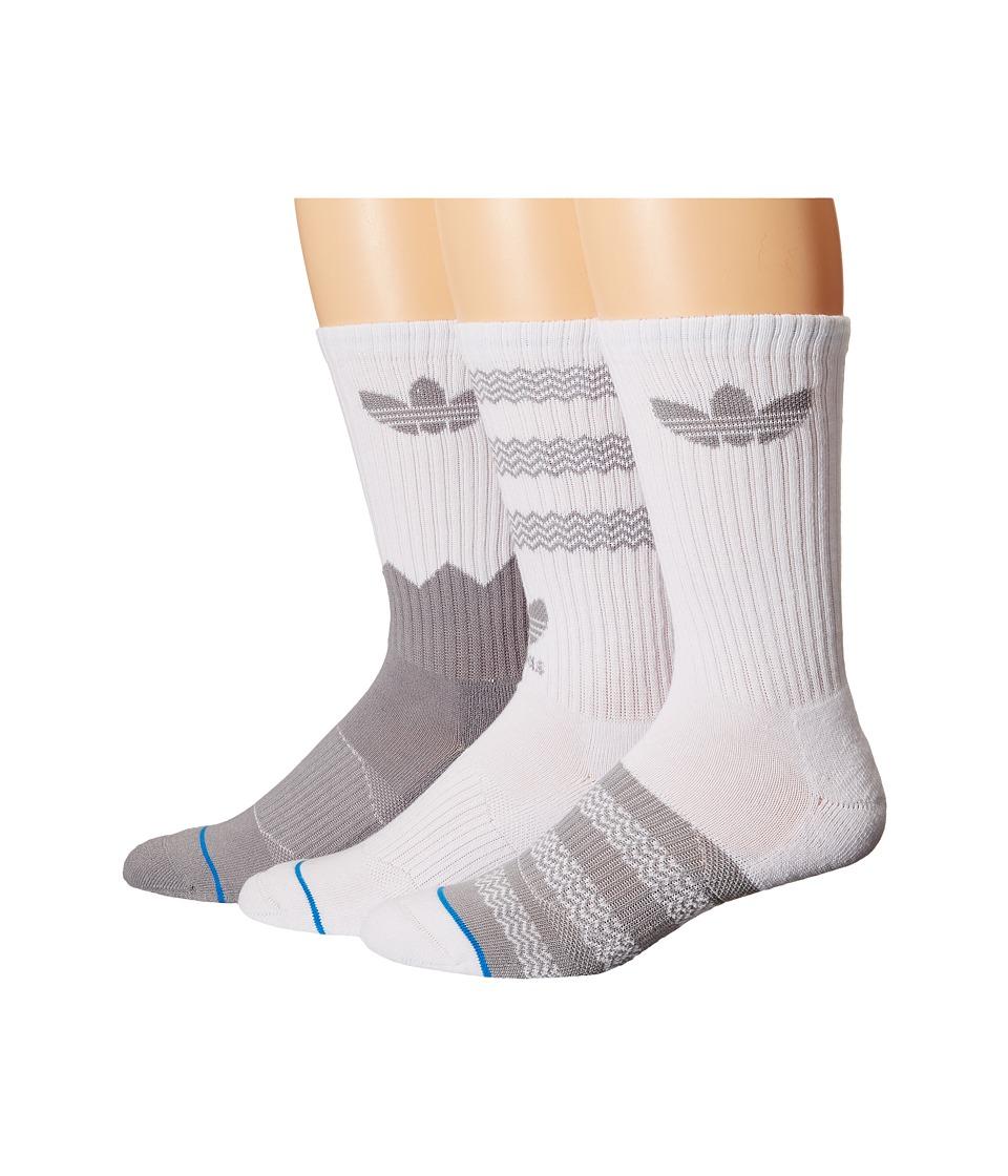 adidas Originals Textured Crew 3 Pack Socks White/Light Onix/Bluebird Mens Crew Cut Socks Shoes