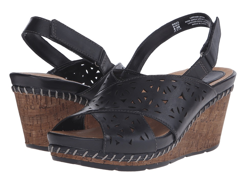 Earth Aries Black Soft Calf Womens Wedge Shoes