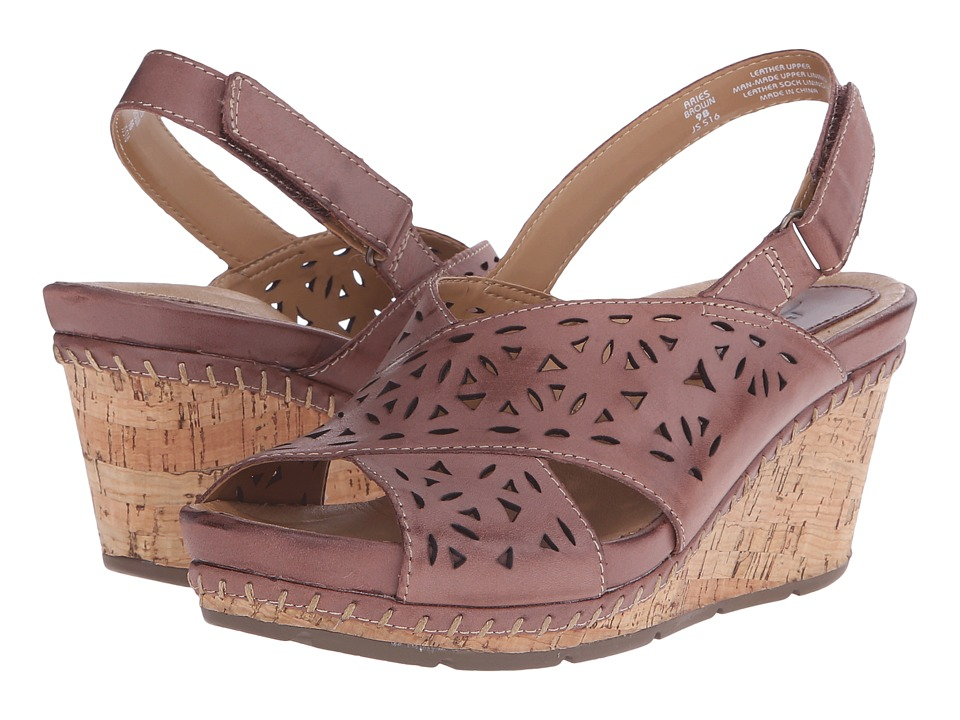 Earth Aries Brown Leather Womens Wedge Shoes