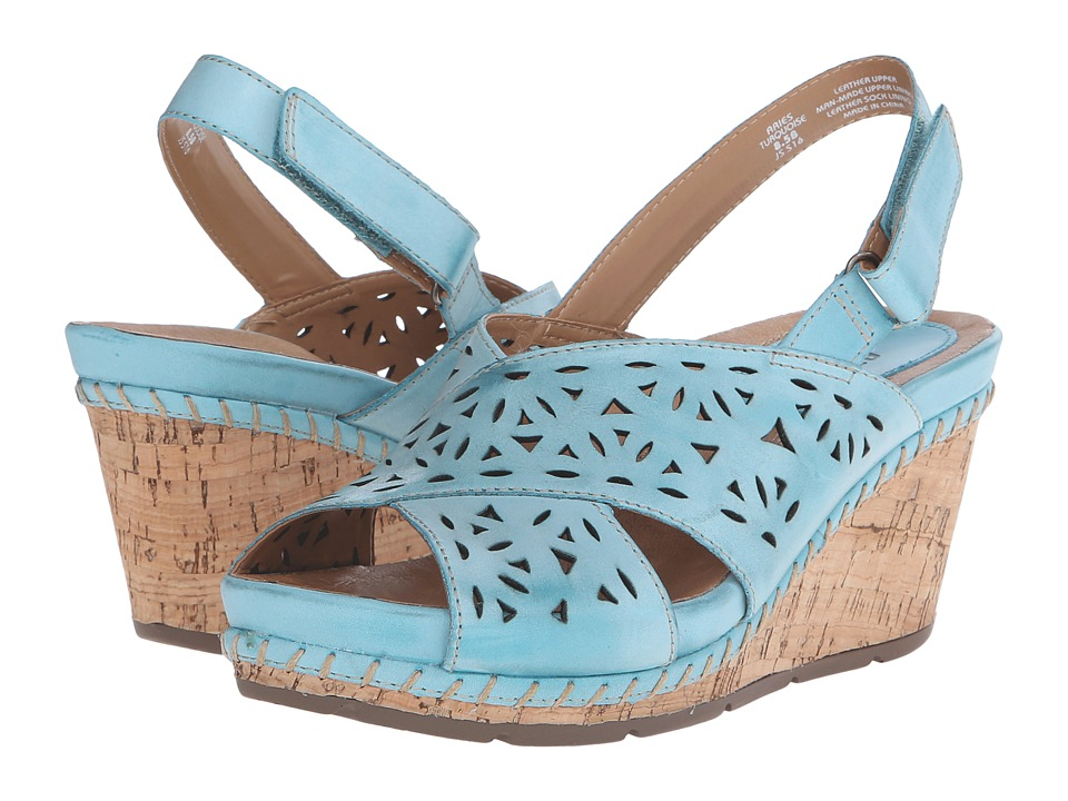 Earth Aries Turquoise Leather Womens Wedge Shoes
